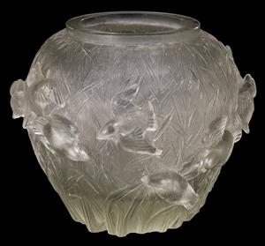 Martin-Pecheurs Sur Fond De Roseaux Cire Perdue Vase By Rene Lalique