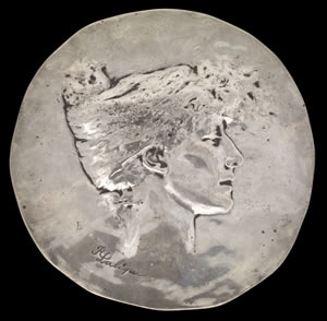 Sarah Bernhardt Medal Created By Rene Lalique in 1896 For Party Guests With Each Medal Have A Personalized Inscription On The Reverse - This Medal For Author Gustav Geoffroy