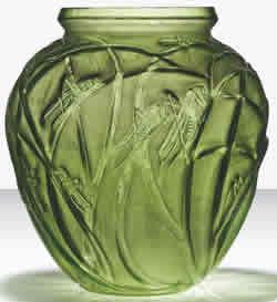 Sauterelles Vase Rene Lalique Green Glass Grasshoppers