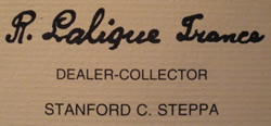 Lalique Dealer And Collector Standford Steppa Business Card Front