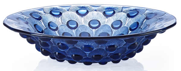 R. Lalique Plumes De Paon Bowl In Blue Glass