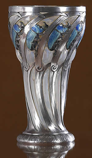 "R. Lalique Silver Chalice Decorated With Rhinoceros Beetles"" title="