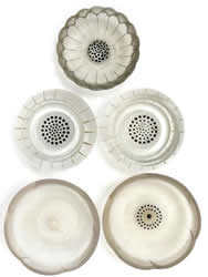 R. Lalique Berthe Glass Ashtrays, Nicole Ashtray, And Two Dahlia Ashtrays