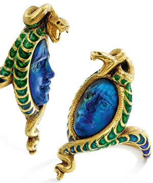 R. Lalique Medusa And Serpent Ring Opposing Views