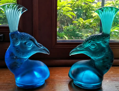 R. Lalique Tete De Paon Blue Glass Car Mascots
