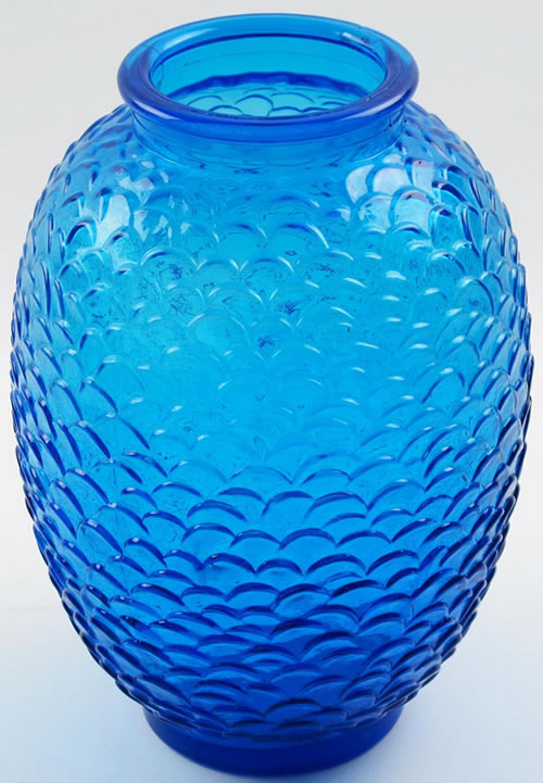 Ecailles Vase Loose Copy With Rim In Blue Glass View From Slightly Above