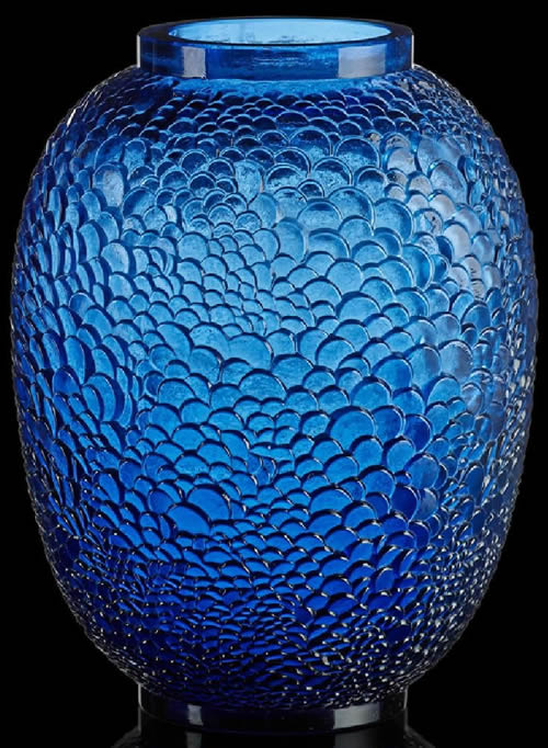 Rene Lalique Ecailles Vase In Blue Glass Side View