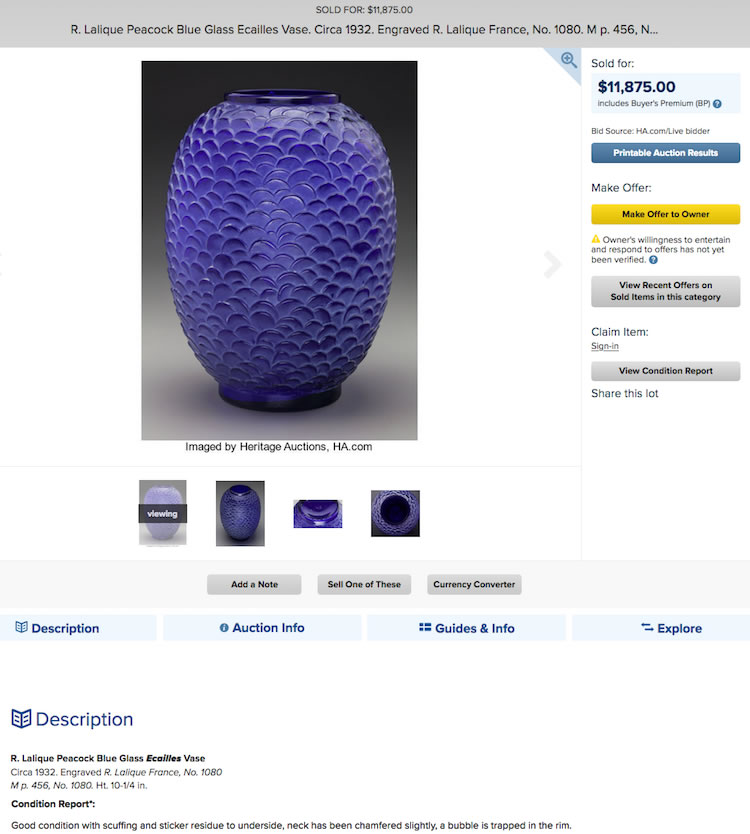 Ecailles Vase Loose Copy Heritage Auction Listing Showing Sold That Since Vanished From Heritage Website