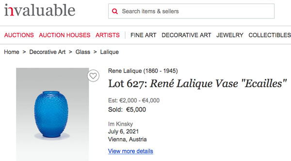 Sale Report Page On Invaluable For Fake Ecailles Vase At Im Kinsky Auction House Vienna July 6, 2021